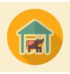 Cowshed retro flat icon with long shadow vector