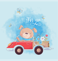 cute cartoon dog on a truck with flowers postcard vector image