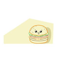 cute hamburger cartoon comic character vector image