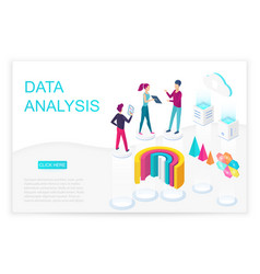 data analysis isometric landing page vector image