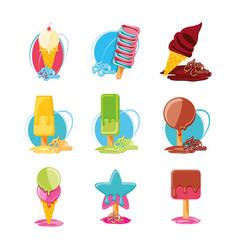 delicious ice cream set menu vector image