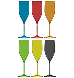 Different colors of wine glasses vector