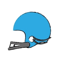 Drawing blue american football helmet sport vector