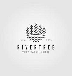 evergreen pine tree line art nature logo vintage vector image