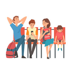 family waiting at airport terminal for flight vector image