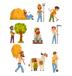 Farmers at work set farm worker with gardening vector