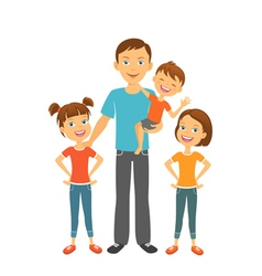 Father with kids Dad and children Fathers day vector image