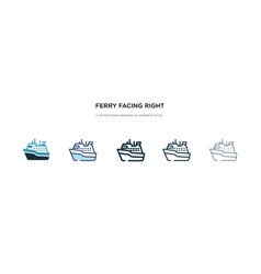 Ferry facing right icon in different style two vector