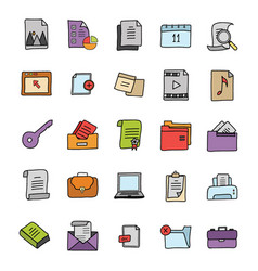Files doodle icons pack vector
