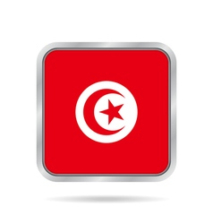 flag of Tunisia shiny metallic gray square button vector image