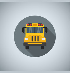 Flat color school bus icon for printing web and vector