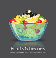 Full fruit salad glass bowl on black backdrop vector