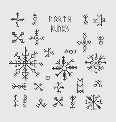 futhark norse viking runes and talismans nordic vector image