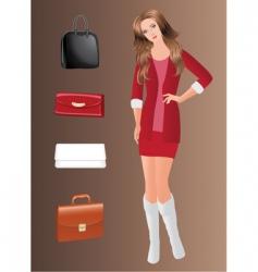 girl and handbags vector image