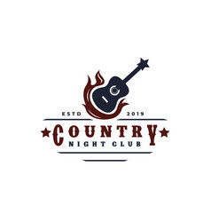 Guitar on fire country music western vintage vector