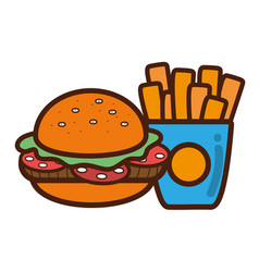 Hamburger and fries french food icon vector
