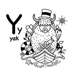 Hand drawnalphabet letter y-yak vector
