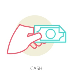 Hand holding a banknote vector