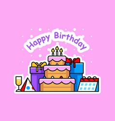 Happy birthday background with cake vector