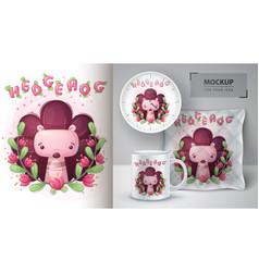 Hedgehog in flower poster and merchandising vector