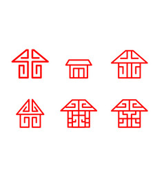 Home logo and icon in chinese linear style vector