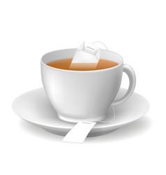 Hot brown tea cup vector