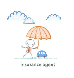 Insurance agent is holding an umbrella over the vector