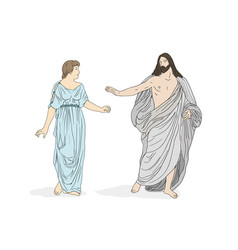 jesus christ and mary magdalene vector image