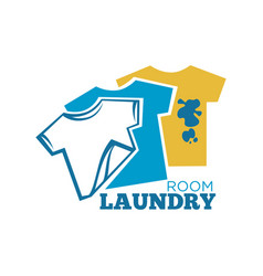 Laundry room promotional logotype with t-shirts vector