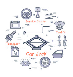 Linear round banner of car jack vector