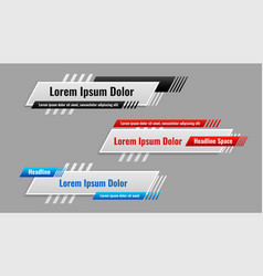 Lower third banner template in different styles vector
