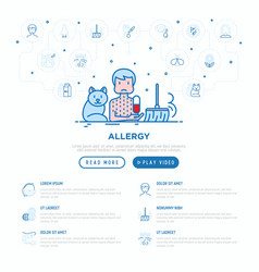 Man with allergy and thin line icons allergens vector