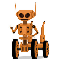 mechanical robot on wheels in steampunk style vector image