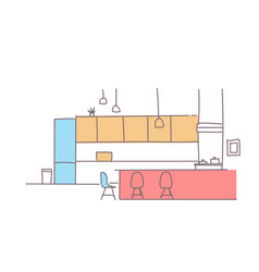 modern kitchen interior empty house room furniture vector image