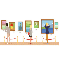 museum visitors looking at paintings hanging on vector image