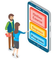 online education concept woman presses buttons vector image