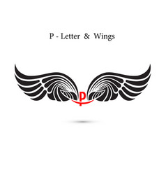 P-letter sign and angel wingsmonogram wing logo vector