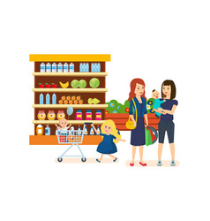 People at grocery store purchased merchandise vector