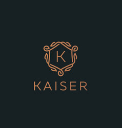 Premium linear shield monogram letter k logotype vector