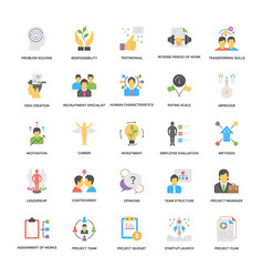 project management icons set in flat desig vector image