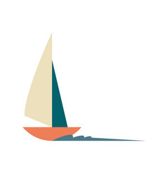 Sailboat ship surfing isolated icon vector