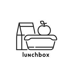 school lunchbox thin line icon vector image