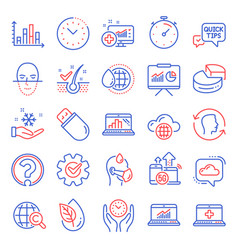 science icons set included icon as diagram graph vector image