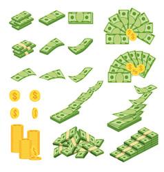 Set a various kind money flat cartoon vector