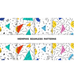 set bright geometric memphis patterns with wavy vector image
