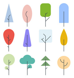 set color trees line style vector image