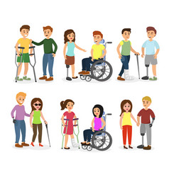 set disabled people and vector image