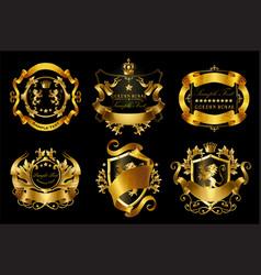 Set golden royal stickers or emblems vector