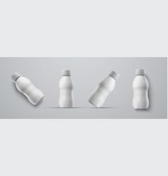 set mockups small plastic white bottles for vector image