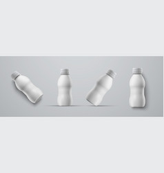 set mockups small plastic white bottles vector image